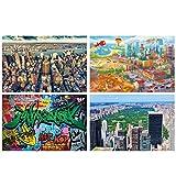 GREAT ART® Juego de 4 carteles con motivos infantiles   Din A2 - 42 x 59,4   Gran ciudad   Manhattan Nueva York Crepúsculo Estilo cómic Graffiti   Cuadros para niños decoración póster