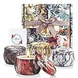 YMing Juego de 4 velas perfumadas, velas de cera de soja natural portátiles de 4.4 oz, velas de regalo para mujeres con aceites esenciales para aliviar el estrés y aromaterapia, Flower Story.