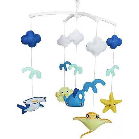 Thème de l'océan Décoration de lit bébé Musique Berceau Mobile Cadeaux faits à la main Jouet suspendu