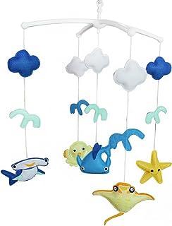Thème de l'océan Jouet de décoration de lit bébé Mobile musical musical pour berceau fait main en