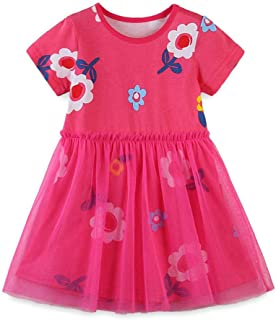 Bcaur Girls' Tulle Dresses Short Sleeve Princess Dress Summer Children Clothes for 2-7Y