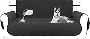 Mengelina Reversible Sofa Slipcover Water Resistant Couch Cover, Non-Slip Furniture Protector, Washable Loveseat Cover with Elastic Straps for Pets Kids Children Dog Cat (Loveseat, Black)