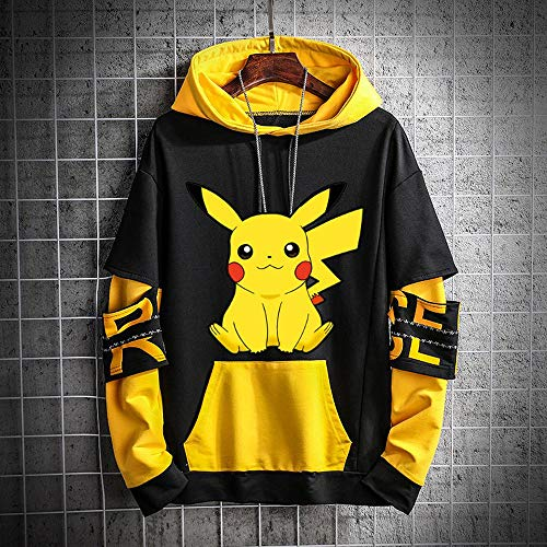 JKAINI Hoodies Pikachu Printed Pullover Hoodies Langarm Sweatshirts Unisex Paar Baseball Uniform