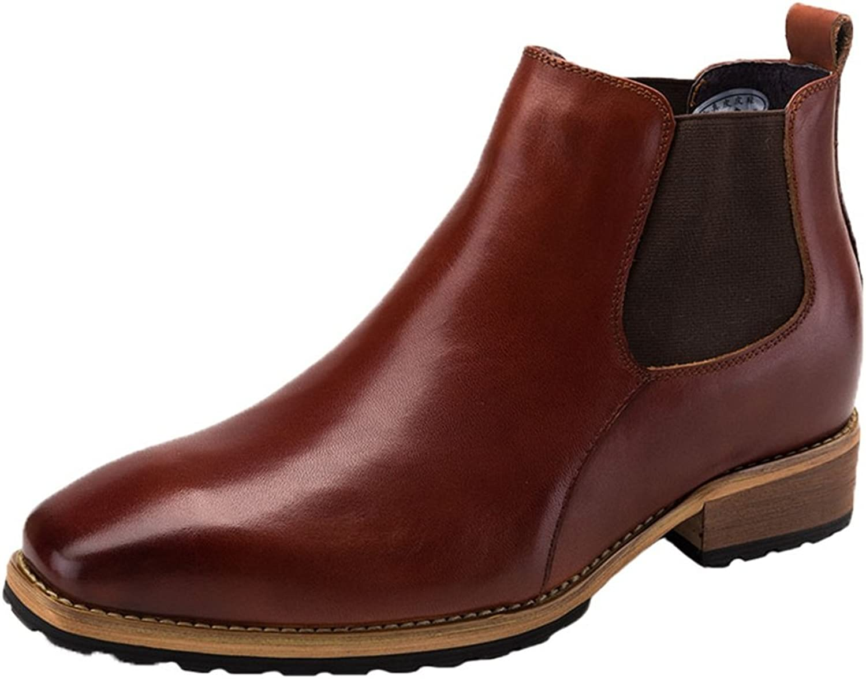 Santimon Mens Chelsea Boots Dress Leather Ankle Round Toe Slip on