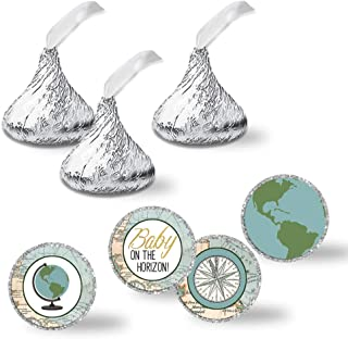 """Adventure Awaits World Traveler Gender Neutral Baby Shower Kiss Sticker Labels, 300 Party Circle Sticker sized 0.75"""" for Chocolate Drop Kisses by AmandaCreation, Great for Party Favors, Envelope Seals & Goodie Bags"""