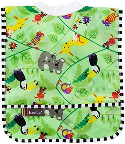 Kushies Rib Neck Waterproof Bib Infant for Toddler Green Aussie product image