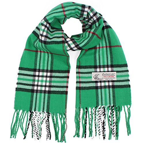 Plaid Cashmere Feel Classic Soft Luxurious Winter Scarf For Men Women (Green)