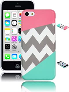 Bastex Heavy Duty Case for iPhone 5c - Coral Pink & Teal Chevron Snap On Case/Cover