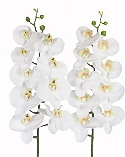 "JAROWN 2pcs 9 Heads Artificial Phalaenopsis Orchid 37.8"" Real Touch Letax Flowers Butterfly Orchid for Home Office Decorat..."