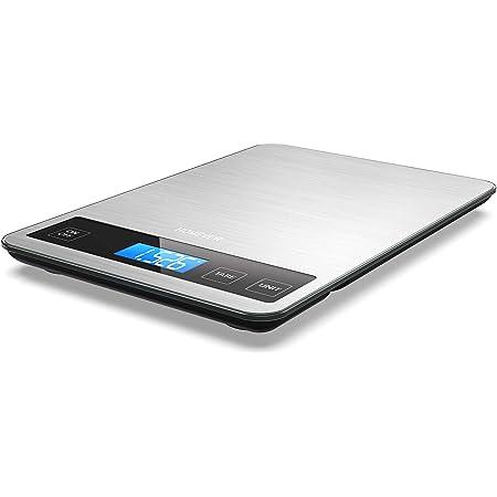 Balance de Cuisine Electronique, HOMEVER Balance Alimentaire Numérique de Précision 1g en Acier Inoxydable, Capacité 15kg/ 33lb, Grande Plate-forme de 23 x 16 cm, Écran LCD Rétroéclairé, Verre Trempé