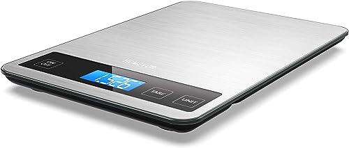 Balance de Cuisine Electronique, HOMEVER Balance Alimentaire Numérique de Précision 1g en Acier Inoxydable, Capacité ...