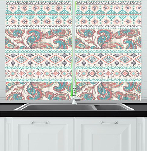 """Ambesonne Tribal Kitchen Curtains, Paisley Patterns in Native in Mixed Pattern Floral Design, Window Drapes 2 Panel Set for Kitchen Cafe Decor, 55"""" X 39"""", Coral Cream"""
