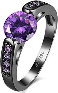Jewelry Created Purple Amethyst Diamonds Tungsten Stainless Steel Black Gold Plated Christmas Best Friend Engagement Wedding Black Gold CZ Rings for Womens Size 6-8