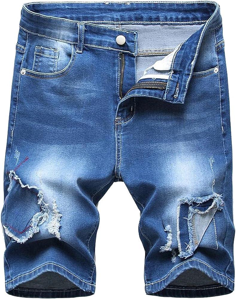 Mens Blue Ripped Denim Shorts Summer Straight Leg Stretch Cargo Shorts Vintage Jeans