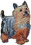 Embroidered Iron On Sew On Patch Australian Silky Terrier Dog Breed Great Quality Applique, 2 1/8' x 3 1/8'