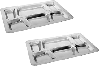 Khandekar pack of 2 Stainless Steel Rectangular 6-Compartment Divided Plate, Cafeteria Food Trays. 15 in. x 11 in.
