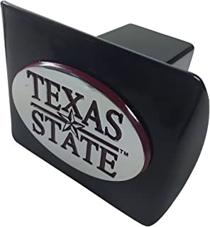 Texas State Bobcats METAL emblem (oval shaped with maroon trim) on black METAL Hitch Cover