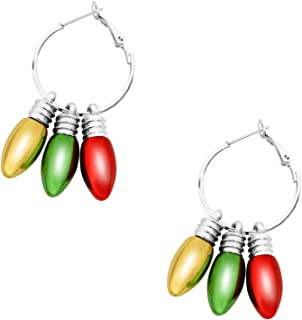 Christmas Theme Earrings Holiday Jewelry Set Gifts for Womens Girls, There Are Christmas Balls, Light Bulbs, Hoop Earrings, Handmade Crystal Earrings and Many Other Earrings Gifts for Christmas…