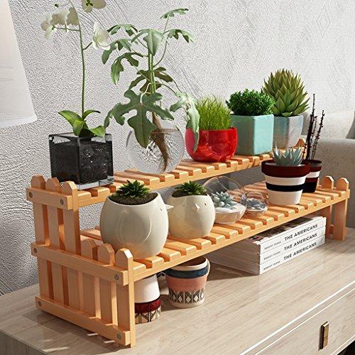 BOBE SHOP- Support de stockage de bureau, support de fleur de bambou, petit support de fleur succulentes (Couleur : Le jaune, taille : 40 cm)