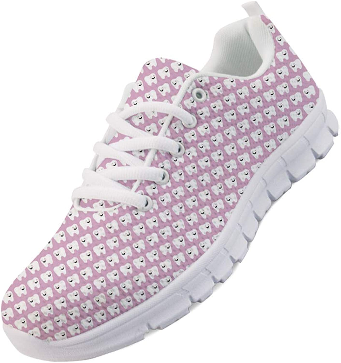 Mumeson Women Walking Sneakers Tooth Dentist Pattern Road Running shoes Lace-up Lightweight