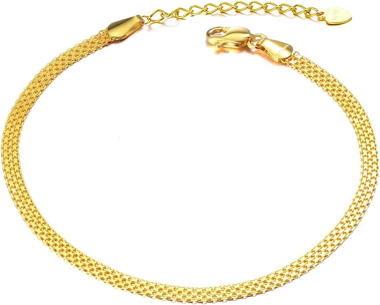 18k Gold Mesh-Link Chain Bracelets for Women, Fine Gold Jewelry