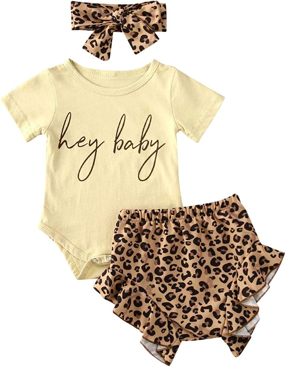 3Pcs Baby Girl Summer Clothes Letter Printed Outfits Shorts Set Short Sleeve Bodysuit Romper Top + Headband