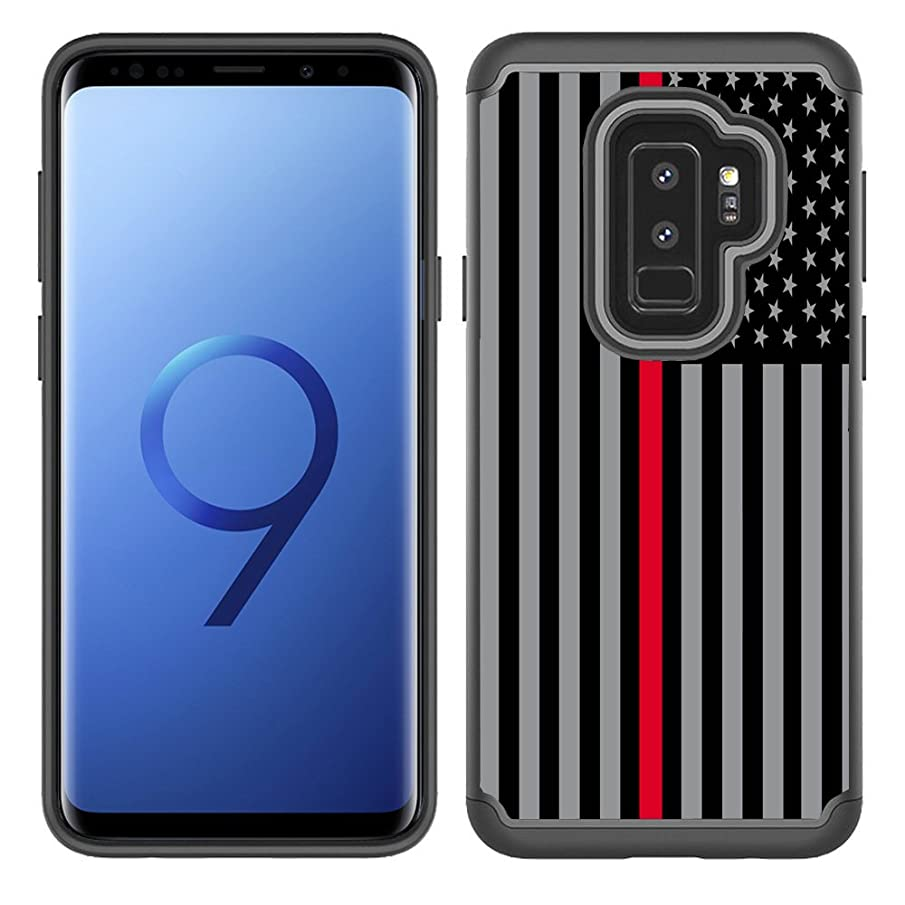 Corpcase - Hybrid Case for Galaxy S9 Plus - Thin Red Line USA  Fire Fighter Flag / Unique Case With Great Protection