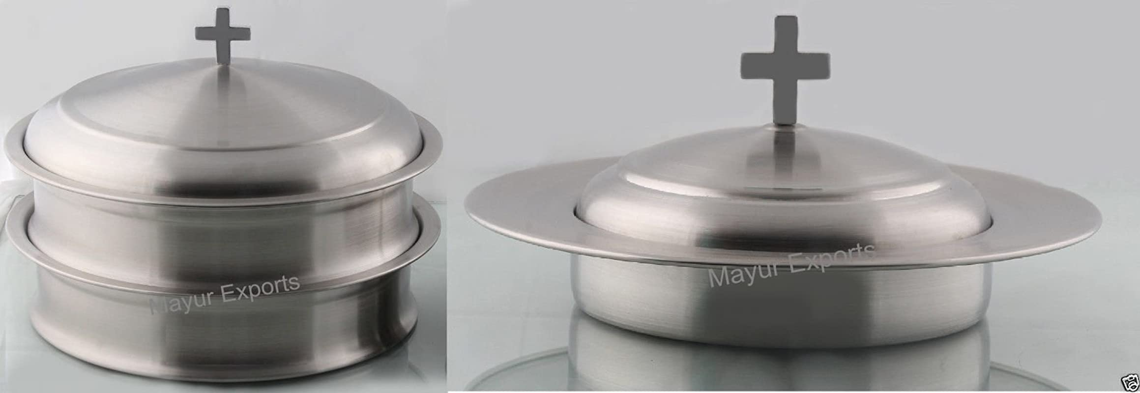 2 Communion Trays For Glasses With Lid And 1 Communion Tray For Bread With Lid Stainless Steel