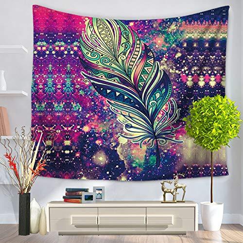 LYQSCL Tapiz De Pared,Indio Hippie Tapices Plumas Estrelladas Púrpuras Psicodélicas Indias Bohemia Colgante De Pared Decoración De Pared para Dormitorio Sala De Estar Toalla De Playa