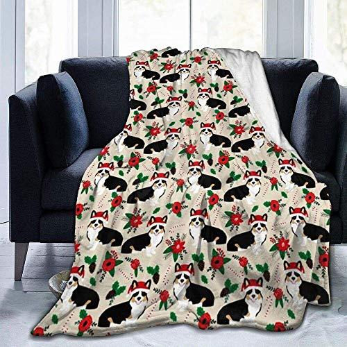 Corgis Dog Poinsettia Dogs Cute Christmas Florals Best Christmas Flowers Corgi Santa Ultra-Soft Fleece Blanket for Bed Sofa 80x60