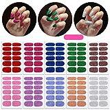 MWOOT 10 Fogli Glitter Unghie Adesivi Decalcomanie,Tinta unita Autoadesivo Nail Art Stickers,Adesivo Smalto per Unghie Manicure le Punte Decorazioni