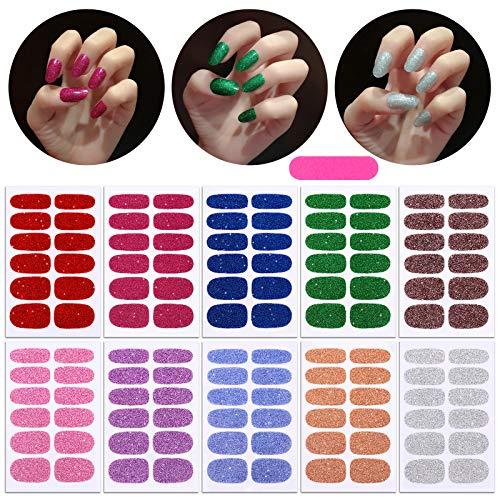 MWOOT 10 Blatt Glitzer Nagelaufkleber mit Nagelfeilen,Nail Art Aufkleber Feste Farben Nagelsticker,Design Selbstklebende Maniküre Sticker Schöne Mode DIY Dekoration