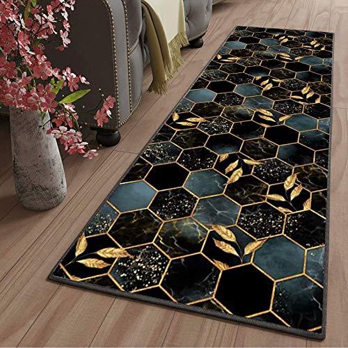 Tapis de Salon Long Lavable antiderapant Moderne Motifs Géométriques Tapis de Couloir Au Mètre pour Salon Chambre Cuisine Hall d