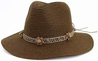 Summer Sun Hat Casual Vacation Panama Straw Hat Women Wide Brim Beach Jazz Hats Foldable Chapeau` TuanTuan (Color : Coffee, Size : 56-58CM)