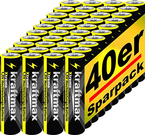 kraftmax 40er Pack Micro AAA 1,5V Alkaline Batterie - Xtreme Industrial Longlife Performance - Hochleistungs- Batterien für maximale Leistung - Neuste Version