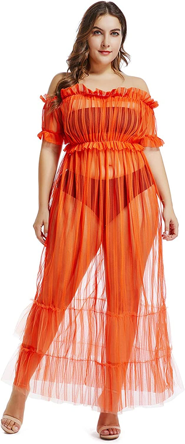 Dean Fast Women Off Shoulder Short Sleeve See Through Maxi Mesh Dress Long Party Gown