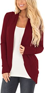 Cnfio Women Long Sleeve Knit Cardigans Open Front Rounded Hem Basic Sweater Outwear