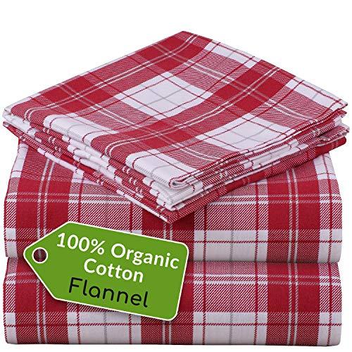 Mellanni 100% Organic Cotton Flannel Sheet Set - Heavyweight 180GSM 4 pc Luxury Bed Sheets - Cozy, Soft, Warm, Breathable Bedding - Deep Pockets - All Around Elastic (King, Burgundy Plaid)