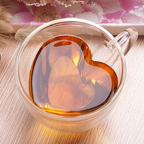 CNDota Heart Shaped Double Walled Insulated Glass Coffee Mugs or Tea Cups, Double Wall Glass 8 oz, Clear, Unique & Insulated with Handle (Clear)