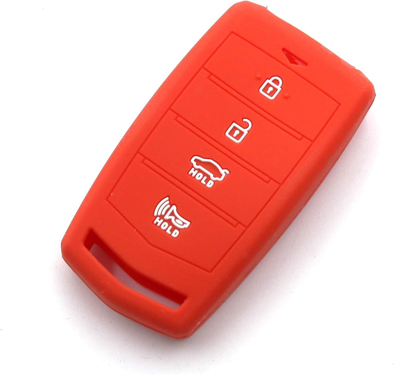 LIGHTKOREA 4Button Silicone fob Remote Smart Key Case Protector Cover for Hyundai Genesis G70 G80 G90 EQ900