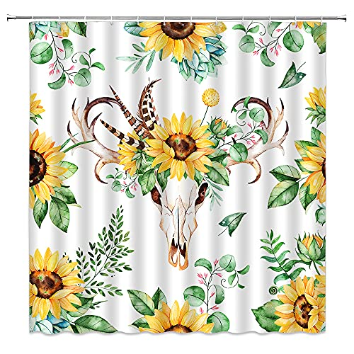 Xnichohe Pastoral Style Shower Curtain Sunflower Cow Pattern Personality Tribal Bathroom Decoration Curtain with Hook Yellow Green