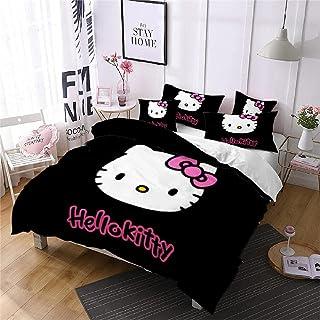 Noir SJPillowcover Hello Kitty Parure de lit 2 pi/èces 1 taie doreiller et 1 Housse de Couette 55x83