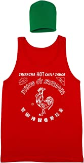 Sriracha Hot Chili Sauce Bottle Costume Outfit with Hat Mens Tank Top