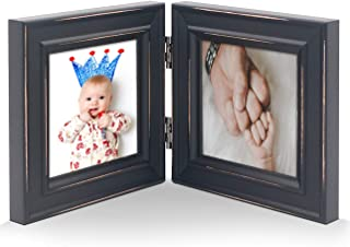 Double 4x4 Wood Photo Frame Instagram, Hinged Picture Frames, with Glass Front, Fit for Stands Vertically on Desk Table To...