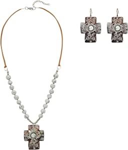Chocolate and White Cross Concho w/ Beads Necklace/Earrings Set