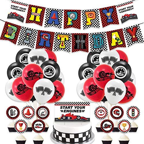 YUIP 38 Piezas Decoracion de Fiestas de Coche de Carreras Race Car Banner de Cumpleaños de Carreras Banderas a Cuadros Globos para Niños Suministros de Fiesta de Cumpleaños de Racing Cupcake Toppers