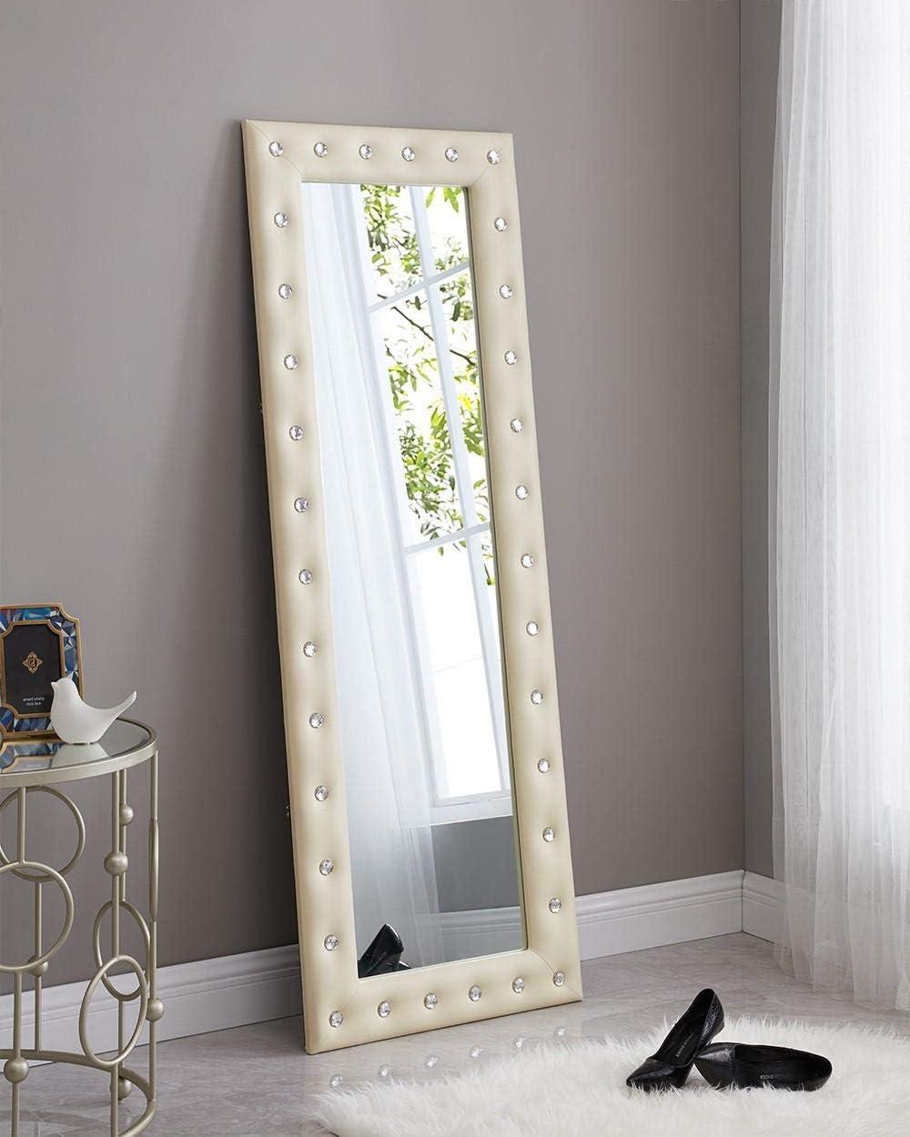 Naomi Home Crystal Tufted Mirror Beige