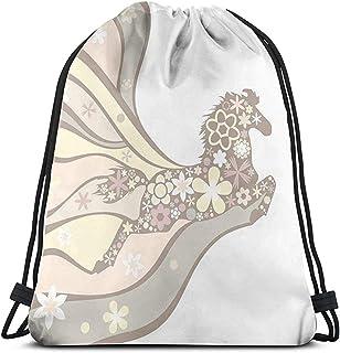 Bolsa de cordón con cordón, bolsa de cordón, mochila de cuerda, caballo floral galopante ecuestre único inspirador gráfico de libertad para gimnasio, mochila de viaje, paquete de cincha deportiva