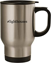 #lighthouses - Stainless Steel 14oz Road Ready Travel Mug, Silver