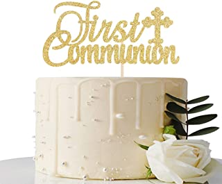 Gold Glitter First Communion Cake Topper - First Communion Cake Decoration for Kids - God Bless Cake Topper